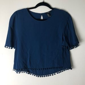 Indigo blue boxy top